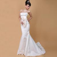 100% quality guarantee  tube top flower delicate fish tail slim waist train lace train wedding dress