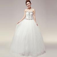 100% quality guarantee  sweet princess exquisite diamond-studded tube top puff skirt dream wedding dress