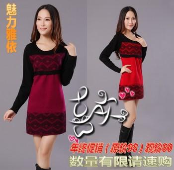 2013 brand Women's slim hip basic shirt long-sleeve thickening loose sweater one-piece dress knitted outerwear Dress Winter New