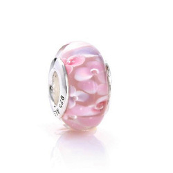 European Charm 2pcs 925 Sterling Silver Threaded pink Murano Glass Beads Fit Chamilia Pandora Style Bracelets 48073(China (Mainland))