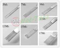 70Pcs Professional Tattoo Needles Mix Round Liner 5M1 7M1 9M1 11M1 13M1 15M1 17M1 Stainless Steel free shipping