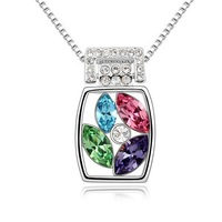 New Arrival Fashion Design Jewelry  Beautiful Design 18K White Gold Plated For Women Sparkling Pendant Necklace Gift K278