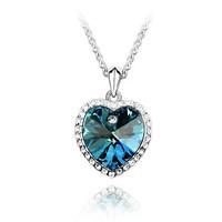 New Arrival Fashion Design Jewelry  brand Fashion Design For Women 18K White Gold Plated Pendant Necklace Heart  pendant Q009