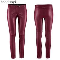 2014 spring autumn high quality women's low-waist faux leather pants plus size skinny pants trousers leggings L425