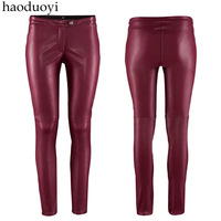 2014 spring autumn high quality women's low-waist tight faux leather pants plus size skinny pants trousers leggings L425