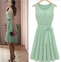 Korean New  2013 Fashion Dress Pleated Formal Dresses Women Elegant  Knee-length Dress With Belt Mint Green Chiffon Dresses