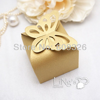 50 pieces Butterfly Pattern Gold Favor Box, Gift Box, Candy Boxes Wedding Party Baby Shower - FREE SHIPPING