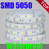 New Waterproof 5M LED SMD 5050 300 LEDs flexible led ribbon strip + DC 12V Power converter Adapter White/Blue/Green/Red/Yellow