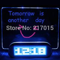LED Fluorescent  Message Board Digital Alarm Clock With 4 Port USB Hub Calendar