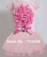 Freeshipping Promotional Baby Girls pink princess t shirt + pink skirt Set kids Infant clothes 5set/lot