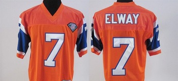 Hot, #7 John Elway orange football jerseys throwbacks , Mix order do wholesale , free shipping fee