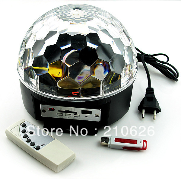Free Shipping NEW Digital RGB LED Crystal Magic Ball USB SD MP3 Remote Control Stage Effect Light(China (Mainland))