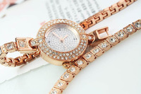 Wholesale Price New Arrive Time Rhinestone Crystal Rose Gold Long Watchband Wrap Watch Woman Free shipping