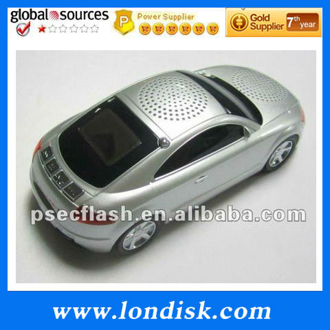 FM High sensitive stereo receive function car shape new speaker product A8 support MP3, MP4, Mobile Phone and PC with LED Lights(China (Mainland))