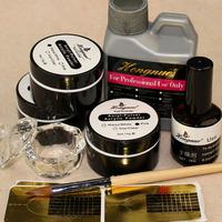 Nail Art Acrylic Powder with Acrylic Liquid Dappen Dish topcoat form Kit Set NA648