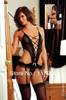 Женское нижнее белье ML6008 Black Lace mesh V-neck with ruffles Sexy One piece lace lingerie Sexy teddy lingerie