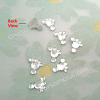 500 Clear Baby Feet Acrylic Flat Back Rhinestone Baby Shower Confetti Party Craft Favor Decoraction  10mm x 9mm