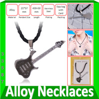 Guitar Pendants Necklaces Wholesale Plated Stainless Steel Childrens Jewelry Factory Price 12pcs/lot Free Shipping #33587