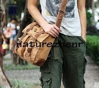 BBZ7 Vintage Khaki black Washed Canvas with leather Shoulder bag messenger mailbag school book bag for women girl boy men