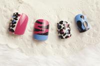 FREE SHIPPING ,rose and blue color in animal grain FALSE NAIL/nail tips  / 24pcs/set with 2g glue