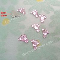 500 Pink Acrylic Baby Feet  Flat Back Rhinestone Baby Shower Confetti Party Craft Favor 10mm x 9mm