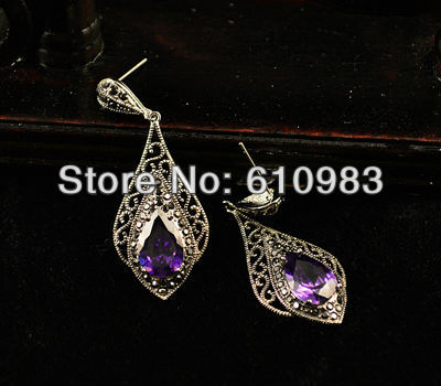 Free shipping (5pairs\lot) Retro Ethnic Jewelry Tibetan silver and Purple Zircon Women Dangle zircon gem earrings Drop Eardrop(China (Mainland))
