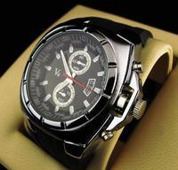 Wholesale Men's Sport Quartz Wrist Watch, Black Band Black Dial Rubber silver Watches, free shipping