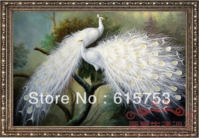 Pavão Hand-painted que pinta a pintura decorativa 24x48inch