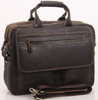 2013 Mens Genuine crazy horse  Leather Antique Style Briefcases Business Cases Attache Messenger Bags Tote New  12951-2