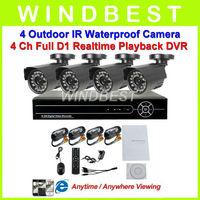 Home 4CH CCTV DVR Day Night Weatherproof Security Camera Surveillance Video System 4ch Kit for DIY CCTV Camera D1 DVR kit