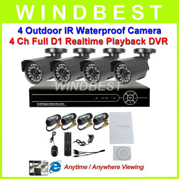Home 4CH CCTV DVR Day Night Weatherproof Security Camera Surveillance Video System 4ch Kit for DIY CCTV Camera D1 DVR kit