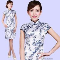 Blue and white porcelain cheongsam dress summer fashion 2012 vintage chinese style noble elegant tang suit cheongsam