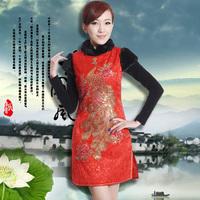 Cheongsam married short design 2012 cotton-padded cheongsam dress