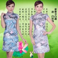 Ink lotus 2012 cheongsam fashion short-sleeve paragraph basic cheongsam dress stretch cotton