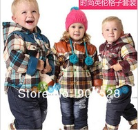 New Autumn winterinfants and young children in winter jacket thickened plaid + jean trousers pants suit coat baby clothes set