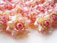 24 Cream Pink Edge Roses Heads Artificial Silk Flower