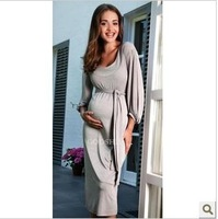2013 newest maternity O-neck three quarter sleeve longdress, fashionabe dress for pregnatn women M-3XL free shipping