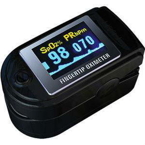 Gentle Black Blood Oxygen Monitor, fingertip Spo2 Pulse Oximeter, Colour OLED Oximetry, CE FDA Approved. CMS50D