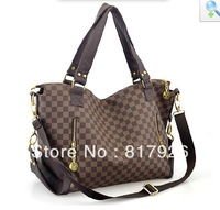 Hotsale! Women's 2013 New Fashional Style Brown Plaid Handbag Female shoulder bag