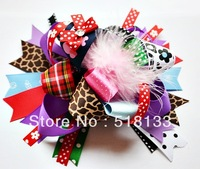 Multi Layered Boutique Baby Girls Big Feather Hair Bows Clips, Ribbon Feather Flower Hair Accessories for Kids, Free Shipping