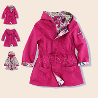 K female child exquisite embroidered trench outerwear reversible medium-long fashion children's clothing 3 - 12