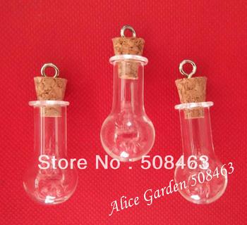 Free shipping  !!! 50pcs/lot 20mm Charm cork glass Bottle Perfume essential oil vial pendant mini glass bottle