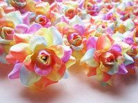 24 Light Rainbow  Roses Heads Artificial Silk Flower