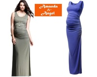 2013 newest europe style maternity boat-neck dress,vest full-length dress pregnant women,gray,black, blue S M L free shipping