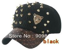 Free Shipping Wool baseball cap, Autumn winter hat, Korean leopard head rivets hip hop caps, Warm casual hats, 10pcs/lot