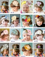 Top baby headbands flower knited cotton flower headbands
