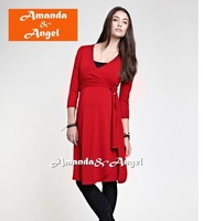 2013 newest europe style maternity V-neck dress, fashionable dress for pregnant women, red,black, blue S M L free shipping