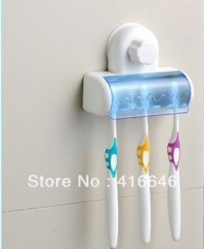 Free shipping Home Bathroom Toothbrush SpinBrush Suction Holder Stand Rack Plastic Set 5 Bin