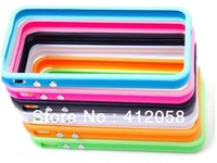 200pcs Silicone TPU Frame Bumper case Metal Button Cover for iphone 5 5G 5S with retail package DHL FEDEX free