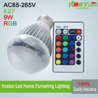 9W E27 RGB LED Lamp AC85-265V led Bulb Lamp with Remote Control multiple colour free shipping